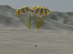 Local three-dimensional virtual environment with geological terrain data and rendering of vehicle and parachutes