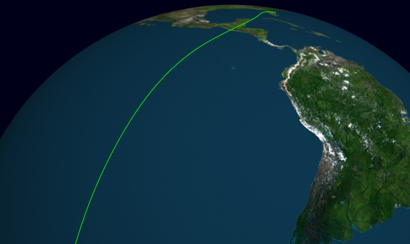 Global three-dimensional virtual model with a reentry trajectory