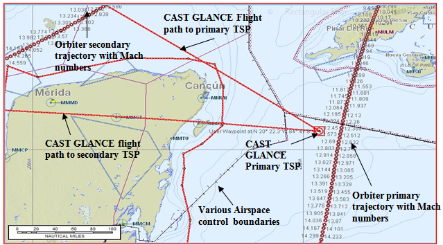Aircraft operations in foreign airspace planned in detail using a commercially available pilot flight planning software package