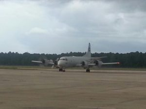 Navy P-3 aircraft sitting on the tarmac ready for the mission