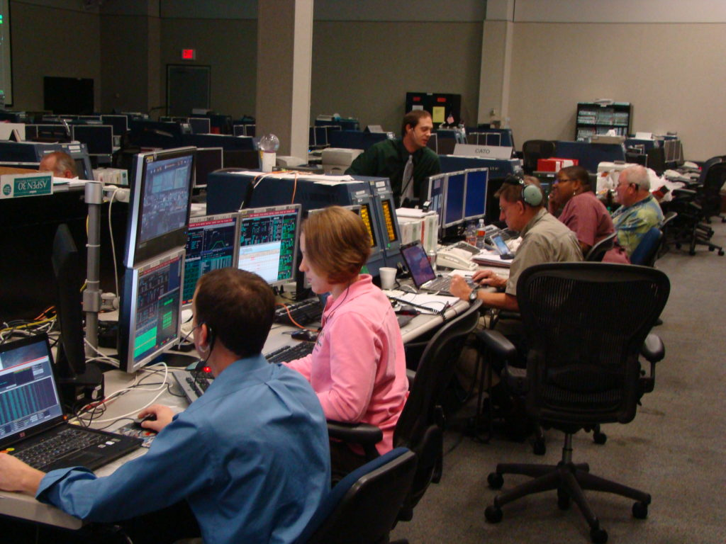 The team working in mission control