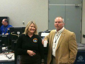 Debbie Tomek and Robbie Kerns in Mission control