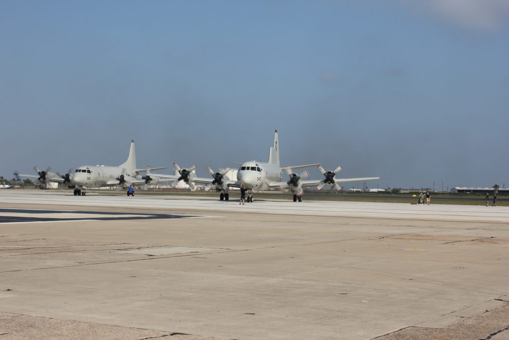 Navy P-3 aircraft on the runway