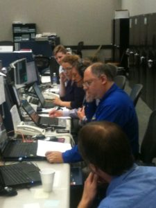The team at work in mission control