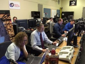 Hard at work in Mission Control at JSC