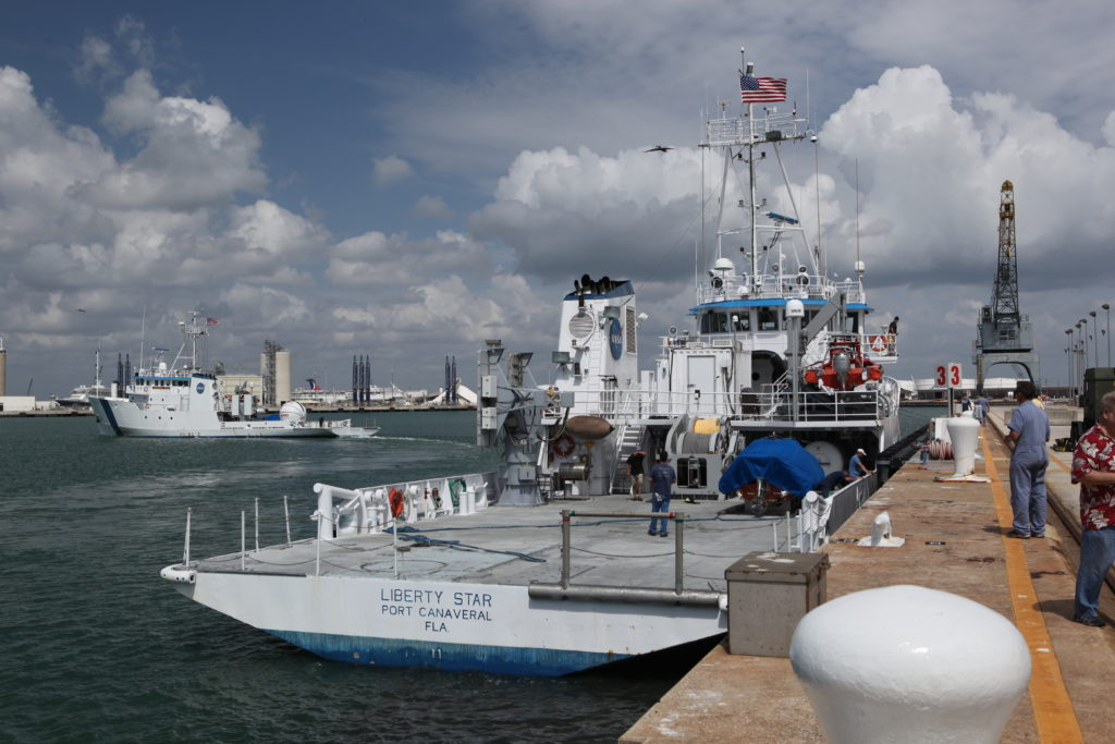 SpaceX - Freedom Star and Liberty Star leave Port Canaveral to support launch