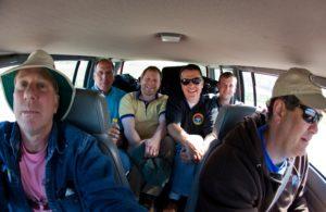 Members of the team carpooling