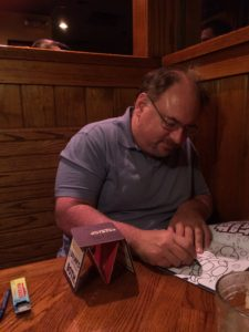 Team member Rich Schwartz destressing with a coloring page