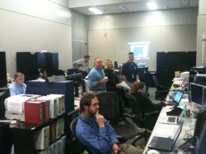 The team hard at work in mission control